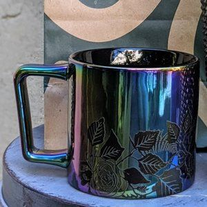 NWT Fall 2020 Black Iridescent Rose Mug